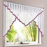 HongYa Kuvertstore transparenter Voile Gardine mit Satinbänder Kräuselband Vorhang H/B 145/600 cm Beere