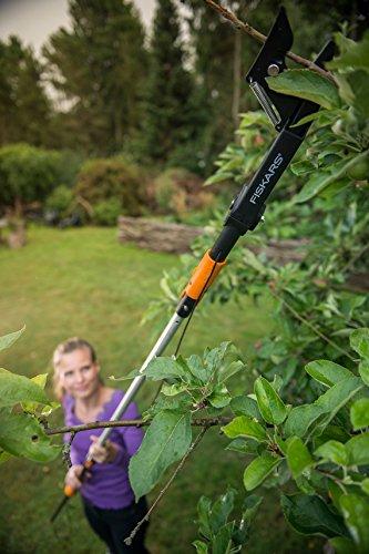 Fiskars QuikFit Amboss-Baumschere für trockenes und hartes Holz bis Ø 3,2 cm, Gerätekopf, Stahl/Kunststoff, Schwarz/Orange, 1001410