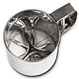 #2: High Quality Stainless Steel Mesh Flour Sifter Mechanical Baking Icing Sugar Shaker Sieve Cup Shape Bakeware Baking Pastry Tools Silver (Stainless Steel Flour Sieve Cup)