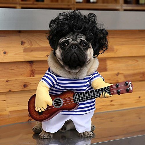 UEETEK Haustierbekleidung Lustige Sänger-Welpen-Kostüm-Hundekatze, die Gitarre spielt Fantastisches Kostüm Halloween-Coslay-Partei-Weihnachtsgeschenk, Größe M (Halloween-kostüm Einfach Lustig)