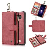 XIANGBAO-1 Hochwertige Handyhülle Echtes Leder-Kasten-Reißverschluss-Mappen-Karten-Multifunktionstelefon-Beutel für Samsung s7 s7edge (Color : Red, Size : S7)