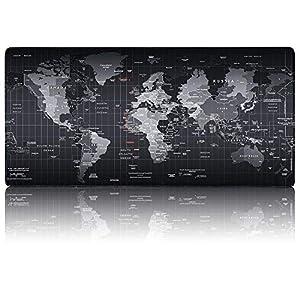 Gaming Mauspad groß, FEIGO 400x900mm Schreibtischunterlage Wasserdicht Matte rutschfest XXL Mousepad I Tischunterlage für Computer, PC und Laptop Weltkarte Schwarz