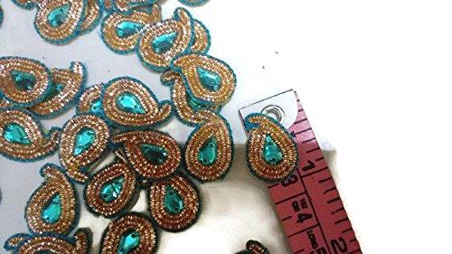 Generic Indische kleine Paisley-Applikationen, indisches Hochzeitskleid Patch, Blaue Paisley-Applikationen, Crafting Patch Zari Arbeit-Preis für 05 Patches-IDE18