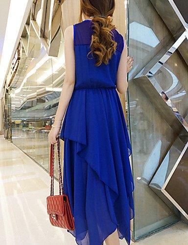 LYQ/ Robe Aux femmes Grandes Tailles Grandes Tailles / Sexy / Vintage / Soirée / Décontracté / Plage / Mignon Col Arrondi MidiMousseline de blue-s