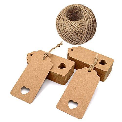 (Losuya 100 stücke Kraftpapier Tags Vintage Geschenkanhänger Namensschilder Karte mit Jute String für Gepäck und DIY Tags Hochzeit Gefälligkeiten)