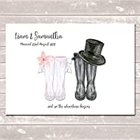 Personalised Wellington Boot Wedding Print (Unframed) Customised Rain Boot Wall Art Gift