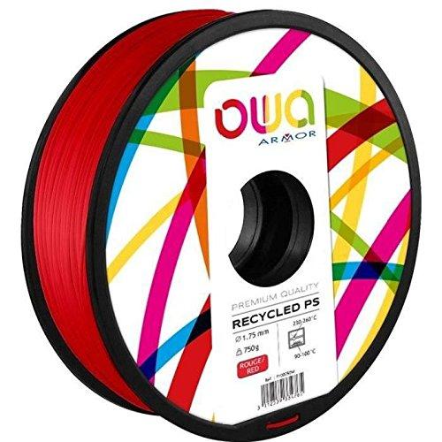 OWA Bobine de Filaments pour imprimante 3D – PS – Rouge