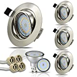 HiBay® LED Einbaustrahler Edelstahl gebürstet Einbaurahmen Inkl. 4 x 5W Leuchtmittel Naturalweiß 230V GU10 IP20 LED Einbauleuchte Deckenspot Deckeneinbaustrahler Deckenstrahler