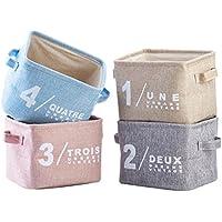 Preisvergleich für Yiuswoy Klein Aufbewahrungskorb Aus Baumwolle,Stoff Aufbewahrungsbox Set of 4,Aufbewahrung Schreibtisch,Ordnungsbox Spielzeugkiste Mit Griff