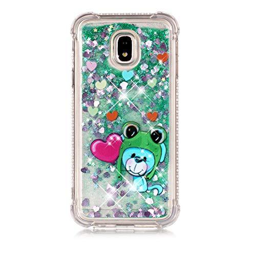 Miagon Flüssig Hülle für Samsung Galaxy J3 2017,Glitzer Weich Treibsand Handyhülle Glitter Quicksand Silikon TPU Bumper Schutzhülle Case Cover-Grün Frosch