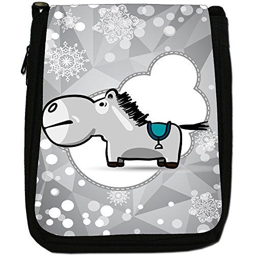 Holiday a forma di fiocco di neve di stagione media-Borsa a tracolla in tela, colore: nero, taglia: M Nero (Grey Horse With Blue Saddle)