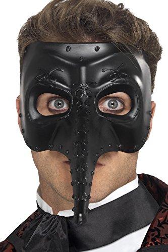 Smiffys 27656 Déguisement Homme Masque de Venise, Noir, Taille Unique