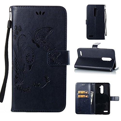 EKINHUI Case Cover Horizontale Folio Flip Stand Muster PU Leder Geldbörse Tasche Tasche mit geprägten Blumen & Lanyard & Card Slots für ZTE Z Max Pro Z981 ( Color : Black ) Darkblue