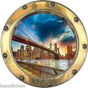 8816 Stickers porthole trompe l/' oeil new york ref