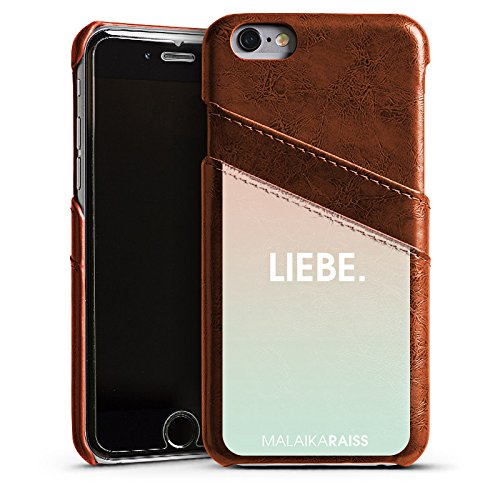 Apple iPhone 4 Housse Étui Silicone Coque Protection Amour Amour Phrases Étui en cuir marron