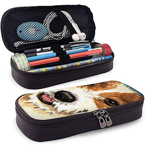 Ich liebe meinen Parson Russell Terrier Bleistiftkoffer Make-up-Stiftbeutel mit großer Kapazität Leder Haltbares Studentenbriefpapier mit doppeltem Reißverschlusshalter Box Organizer -