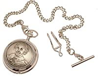 Pocket Watch - Solid Pewter Fronted Mechanical Skeleton Pocket Watch - William Shakespeare Design 57