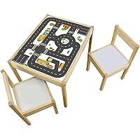 Preisvergleich für Möbelaufkleber Straßen - passend für IKEA LÄTT Kindertisch - Kinderzimmer Spieltisch - Möbel nicht inklusive