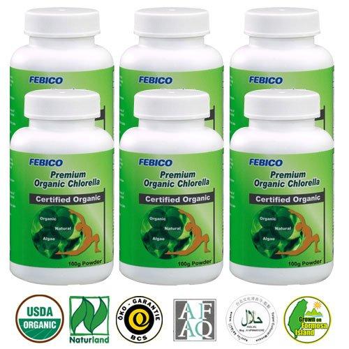 FEBICO-Premium-Organic-Chlorella-Powder-100g-Set-of-6-With-Chlorella-Growth-Factor