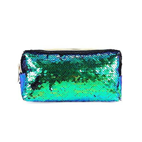 chakil Mermaid Pailletten Tasche Fashion Kosmetiktasche dreidimensionale Lippenstift Handtasche Patent Leder Kosmetiktasche grün grün 21.5 * 8 * 10.5cm - Patent-make-up-tasche