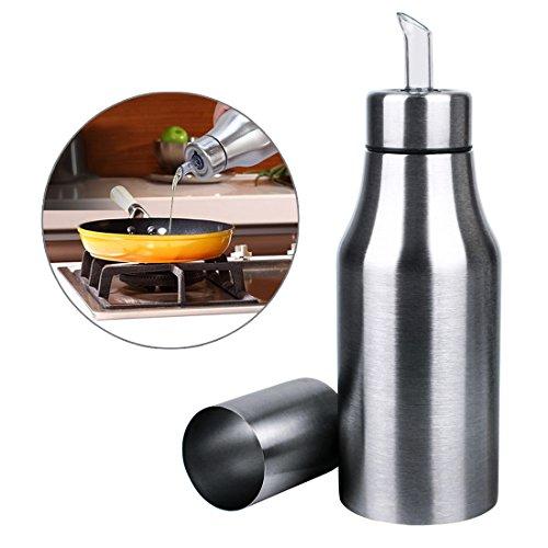 Andux Zone Öl Flasche Edelstahl Öl Essig-Dispenser auslaufsicher Küche Werkzeug Öl Spender Flasche für Olivenöl Essig Sauce Ölbehälter 500ml YH-01