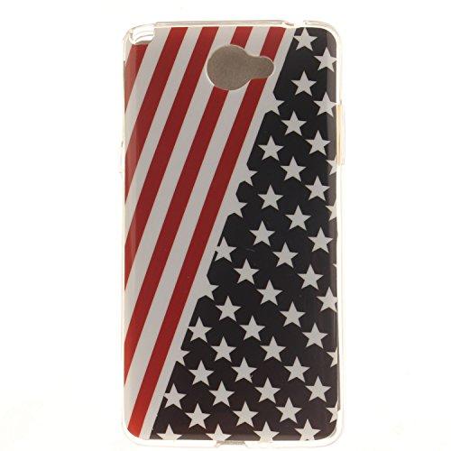 Guran® TPU Silikon Hülle für LG Bello II (5 Zoll) Smartphone Gemalt Schutzhülle Cover-Sternenbanner