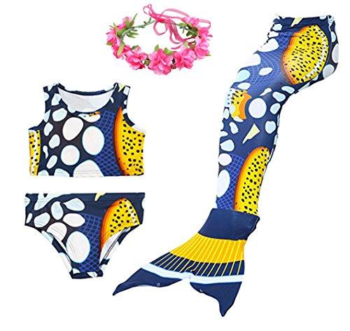 Cosplay Kostüm Badebekleidung Meerjungfrau Shell Badeanzug 3pcs Bikini Sets mit einer Flosse und einer Kränze Tolle Geschenksidee ! (130, Deep blue - blase) (Blasen Kostüme)