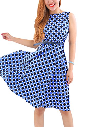 YMING Damen Blumenkleid Vintage Cocktailkleid A-Linie Sommerkleid Knielanges Partykleid,Blau,Polka Dot,L