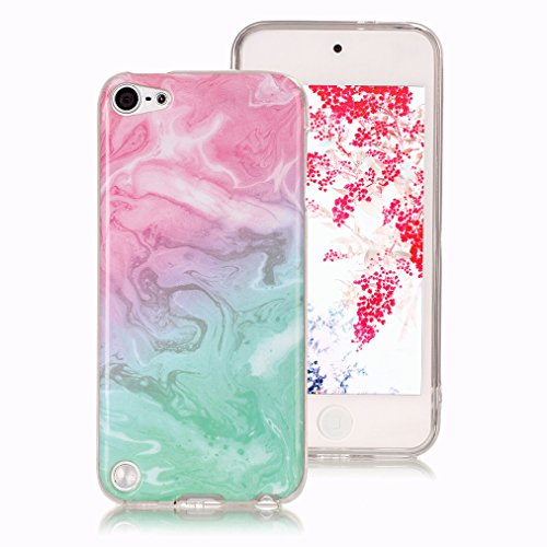 Cover marmo per ipod touch 5, iphone ipod touch 6 case, ronger custodia gel tpu silicone marble case cover ultra sottile flessibile con modello di pietra, mare rosa