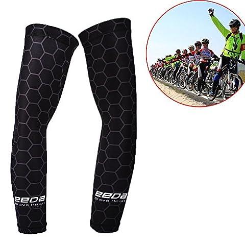 Manchette de Sport Manchettes Velo Manchon Bras Equipement Cyclisme en Polyester et Nylon Anti UV Unisexe Elastique Noir-violet M