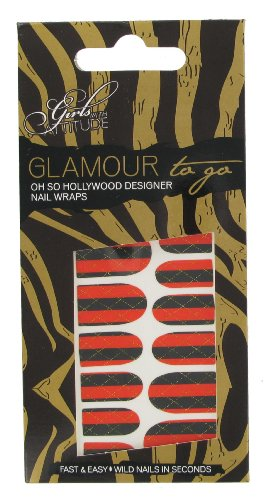 Girls With Attitude Glamour to Go patchs pour ongles Motif à rayures Rouge et Noir