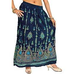 Exotic India Falda Larga con Flores Impresas y Lentejuelas Bordadas - Azul - Talla única
