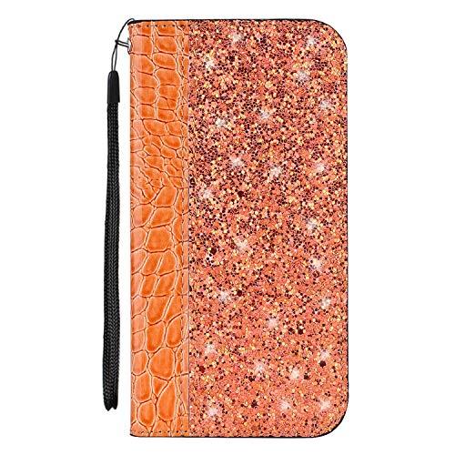 Wiko Tommy 3 Hülle Hochwertige Glitzer Krokodilhaut PU Leder Flip Case Wallet Ledertasche,Magnetverschluss Handyhülle Seitlich Klappbares Schutzhülle Etui Tasche mit Brieftasche/Kartenfach(Orange)