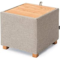 Chang Xiang Ya Shop Hocker Lagerung Hocker Aufbewahrungsbox Erker Tisch Kleine Quadratische Couchtisch Seite Ecke Mehrere Aufbewahrungsbox Tatami Beistelltisch (Color : Gray, Size : 48 * 48 * 45cm)