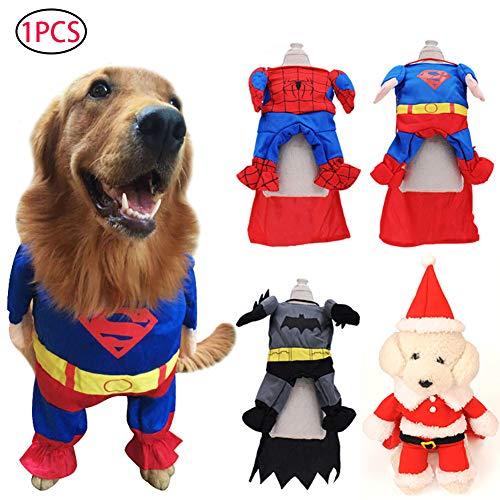 (Naisidier Superman-Kostüm für Hunde und Katzen, Halloween, Größe S)