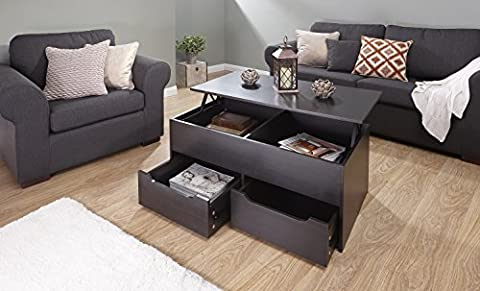 Home Source - Espresso Dark Wood Coffee Table Storage Unit 2 Drawer Lift Up Top Mechanism Occasional Table
