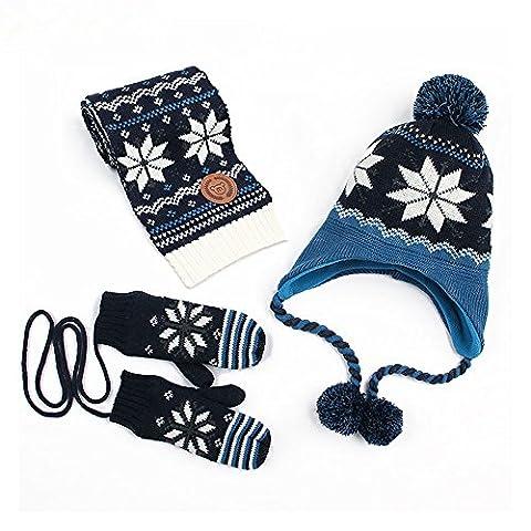 Hi8 Store Children Hats Scarf-Collar Gloves Three-piece Suit Cartoon Knit