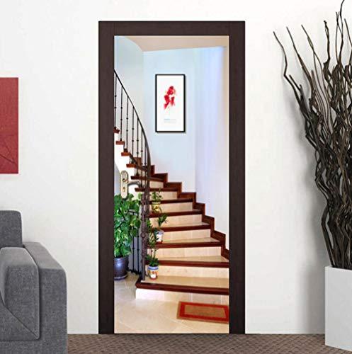 3D Pvc Puertas Mural Etiqueta Moderno Pared Fotos Decoración (77X200Cm) - Escalera de caracol - Diy Impermeable Poster Autoadhesivo Dormitorio Arte Impresión