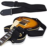 SG Musical Adjustable Black Soft Leather Thick Strap for Electric Acoustic Guitar Bass