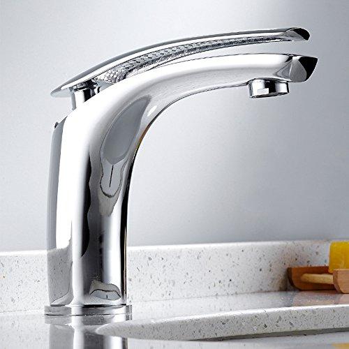 Easy_Buying – Badearmatur Waschtischarmatur Mischbatterie Einhebelmmische Badearmaturen Waschbeckenarmaturen mit Zugstange (Weiß und Chrom)