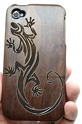 RoseFlower(TM) iPhone 4 / iPhone 4S Holzhülle - Walnuss-Kompass - NatürlicheHandgemachteBambus / Holz Schutzhüllemit Kostenlose Displayschutzfolie für Ihr Smartphone Walnuss-Eidechse
