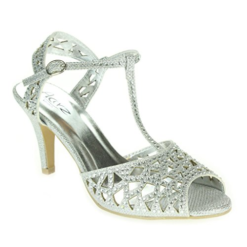 Toe T-bar (Frau Damen Diamant Abend Hochzeit Party Abschlussball T-Bar Peep Toe Mid Heel Sandalen Silber Schuhe Größe 40)