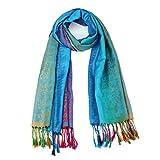 Cinnamou-Bufanda Flores,Bordado a mano de doble capa bufanda de cachemira de moda de invierno Chal de suave de mujer manta gruesa grande pashmina hombreras decorativas mujer (Azul)