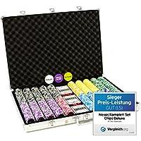 Nexos Pokerkoffer Pokerset 1000 Laser Pokerchips Poker Komplett Set 12 g Chips Deluxe