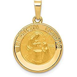 Hermoso oro amarillo 14 K 14 K pulido y satinado español primera comunión medalla colgante viene con un regalo de joyería gratis