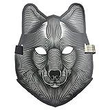JYCRA Halloween LED Scary Maske, Musik LED Party Maske Cosplay Glow Light up Masken, Ideal für Kostüm, Party, Festival, Cosplay, Wolf, 9.8 * 6.7 inch