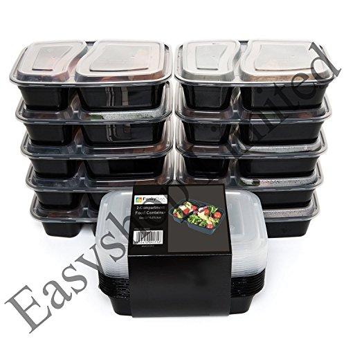 réutilisable Nourriture Boîtes de rangement avec couvercles, micro-ondes et lave-vaisselle, Bento Lunch Box, empilable, Lot de 10, noir/blanc, 2 Compartment (10x)