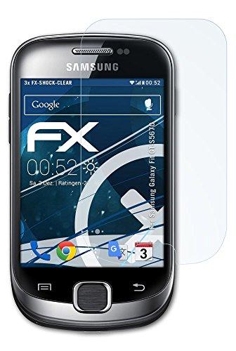 Samsung Galaxy Fit (GT-S5670) Folie - 3 x atFoliX FX-Shock-Clear stoßabsorbierende ultraklare Panzerfolie Displayschutzfolie