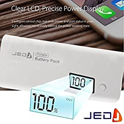 Jed Fuel 12000mAh Lightning Power Bank with LED Digital Display Dual Output for Smart Android & iOS Devices, Color- White