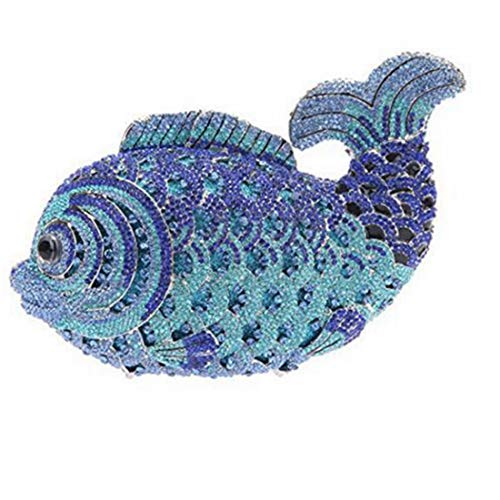 Hungrybubble Frauen Fisch Kristall Clutch Abendtaschen Handtasche Tier Umhängetasche (Color : Blue)